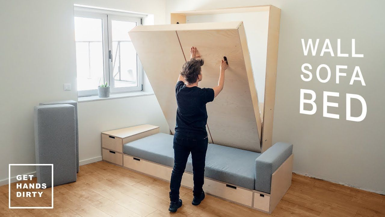 How To Make A Wall Sofa Bed System This Tiny Apartment Episode Is About Building The Murphy Bed For The Wall Murphy Bed With Sofa Murphy Bed Diy Diy Sofa Bed