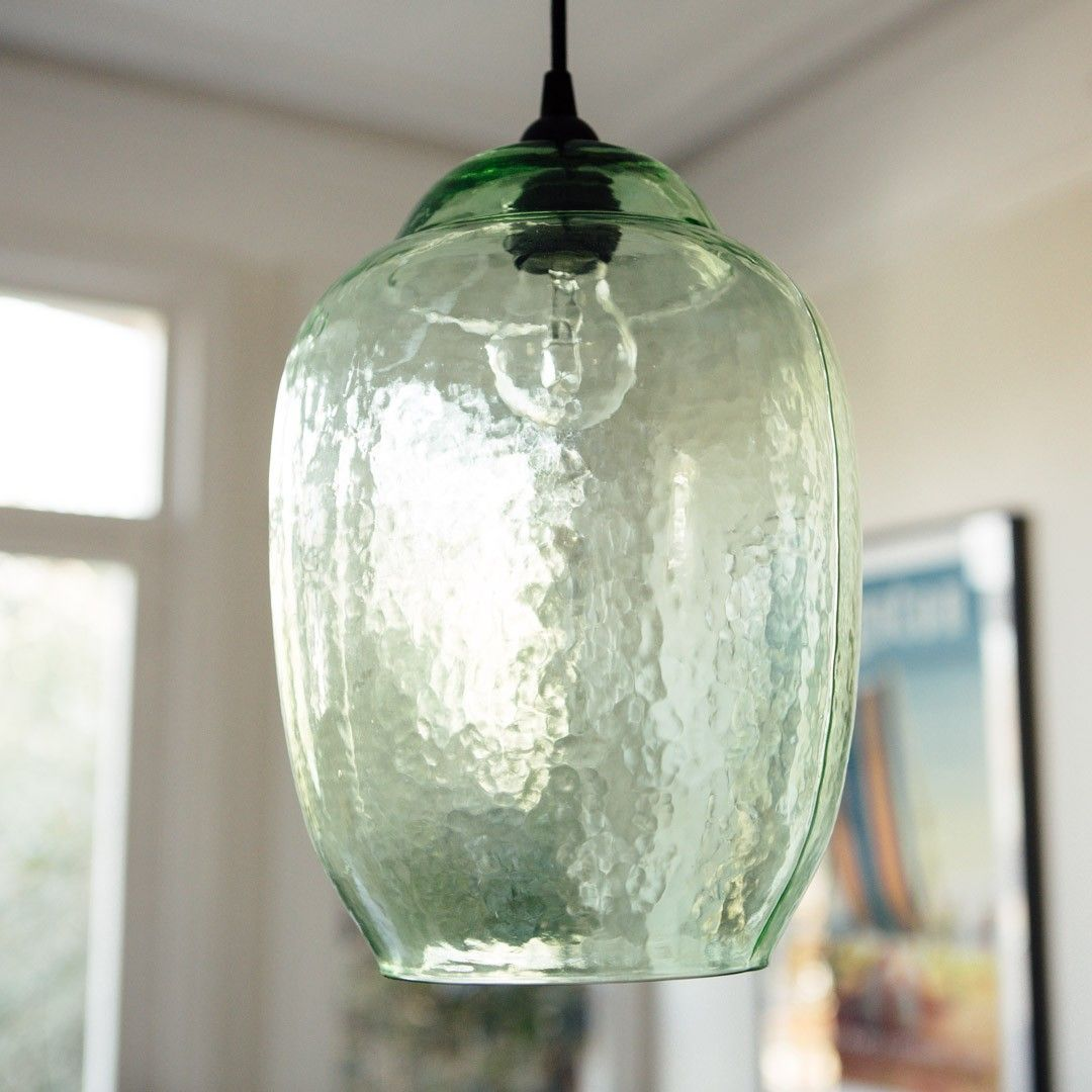 hanging green glass pendant light - Glass Pendant Lighting