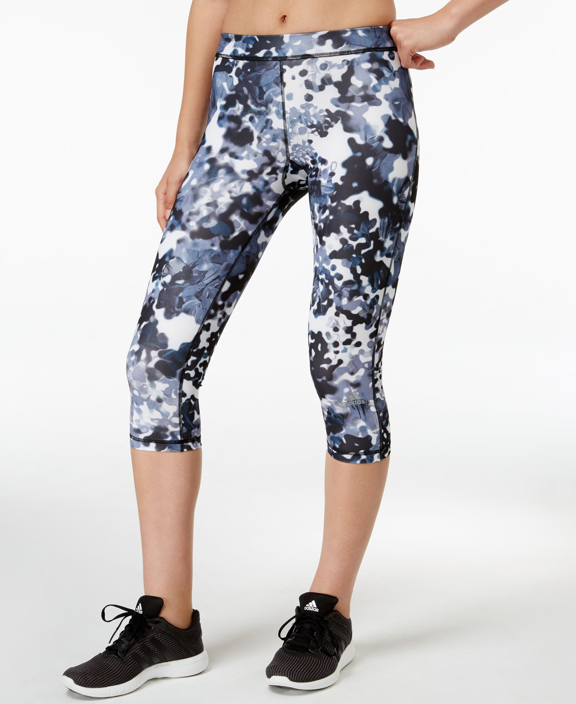 8fbf6eed9d6b adidas TechFit Floral-Print Capri Leggings