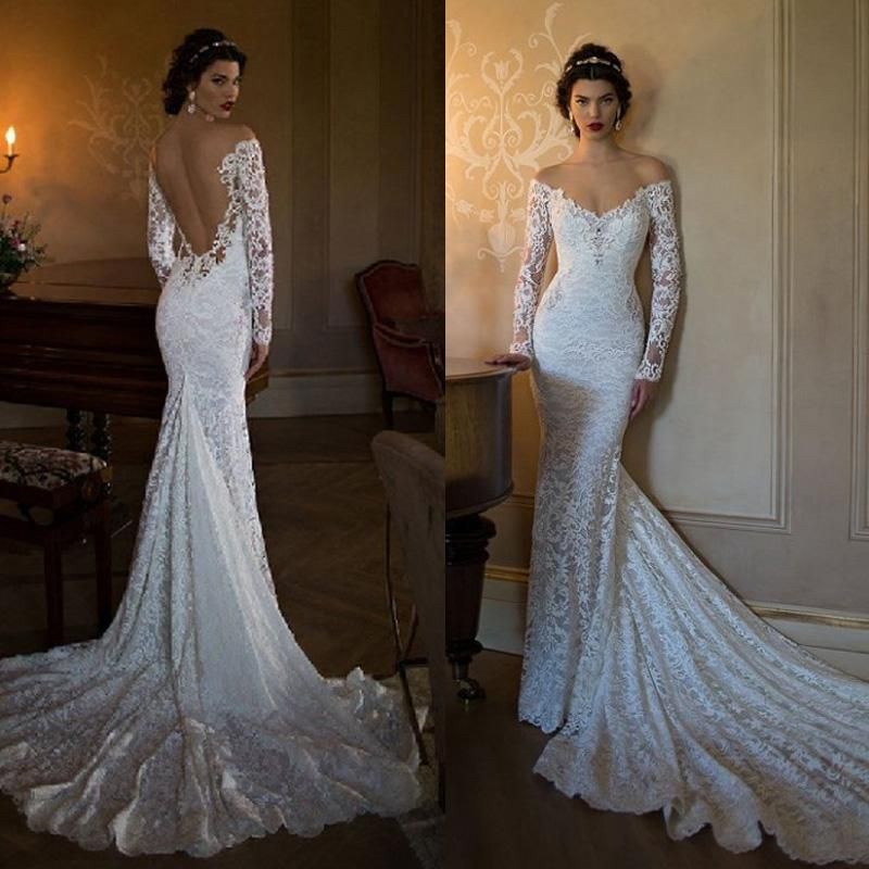 Elegant Mermaid Wedding Dresses Sheer Neck Appliques Lace