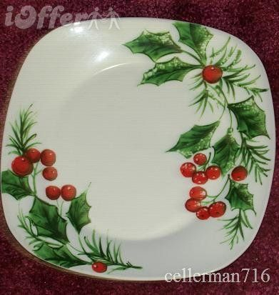 Gibson Square Christmas Holly Plate MINT #2 & Gibson Square Christmas Holly Plate MINT #2 | Mistletoe and holly ...