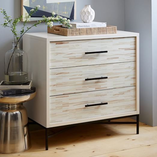 Wood Tiled 3 Drawer Dresser Bedroom Furniture Dresser Wood Tile