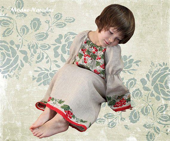 handmade embroidery linen girl dress D-0020 ethnic by ModneNarodne