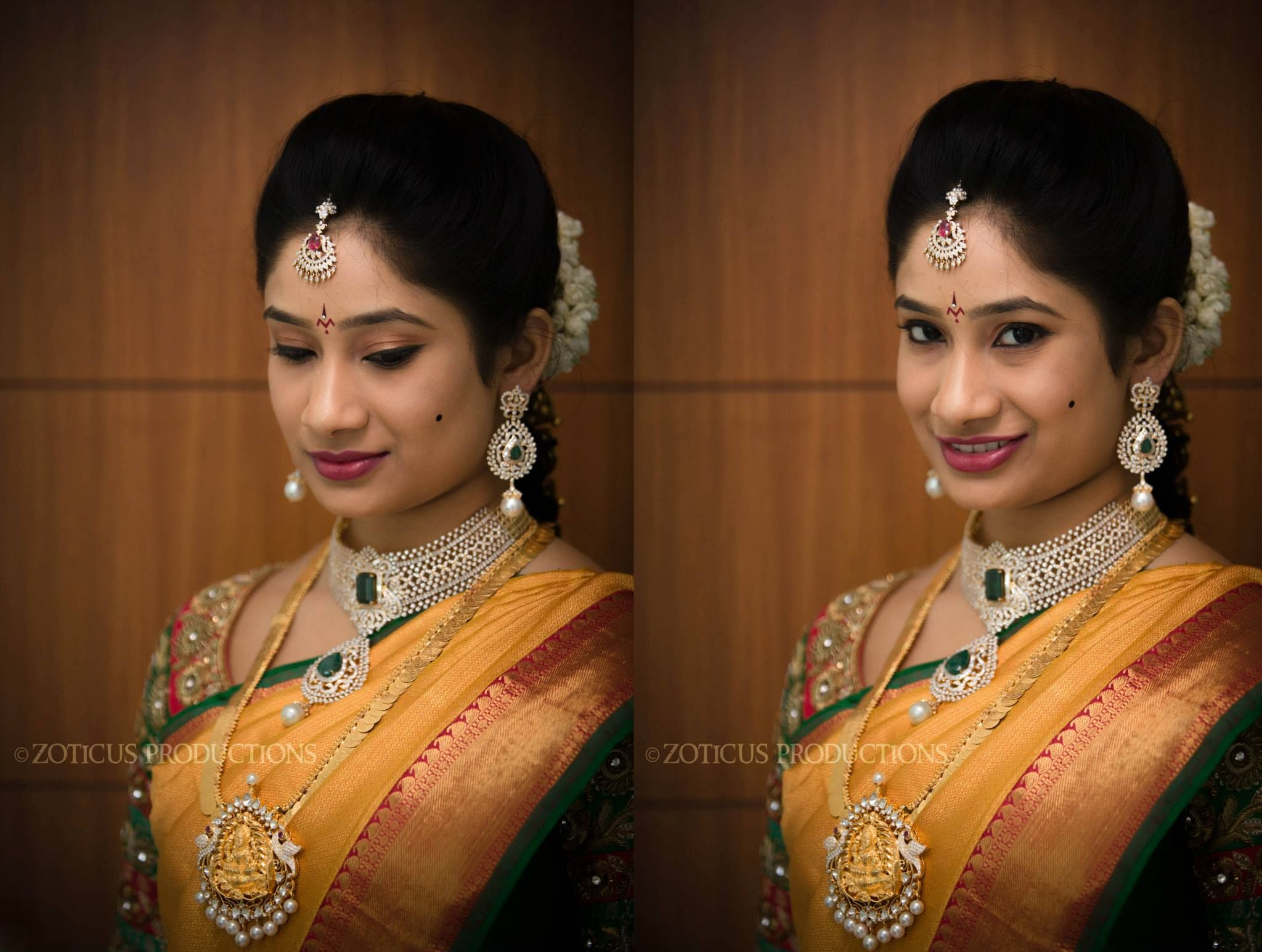 traditional south indian bride wearing bridal saree, jewellery and