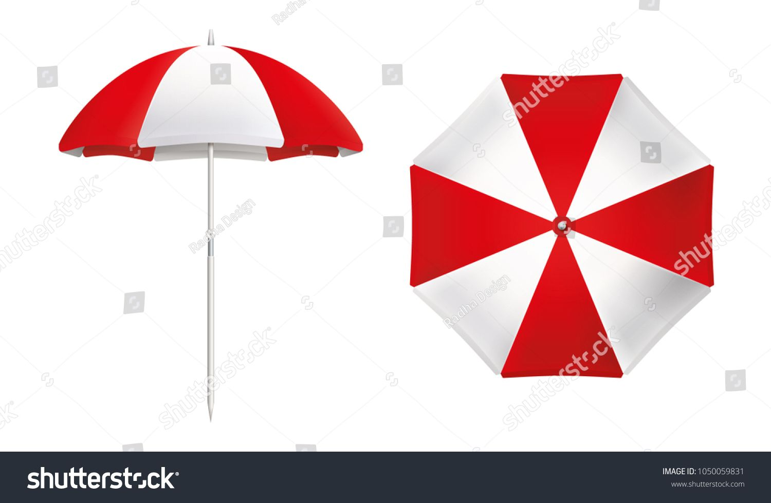 Beach Umbrella Set Red And White