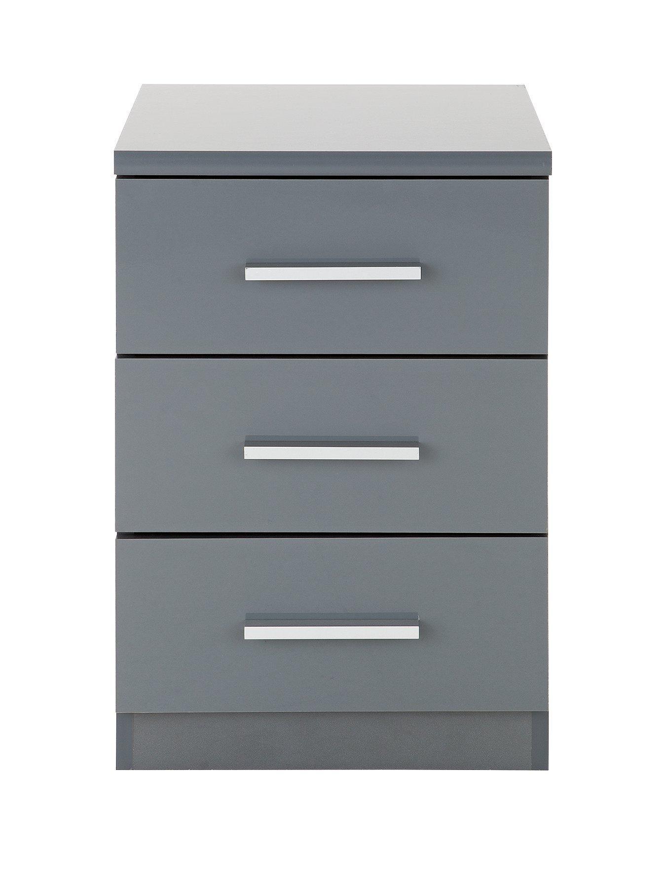. Prague Gloss 3 Drawer Bedside Chest   wardrobes   Bedside drawers