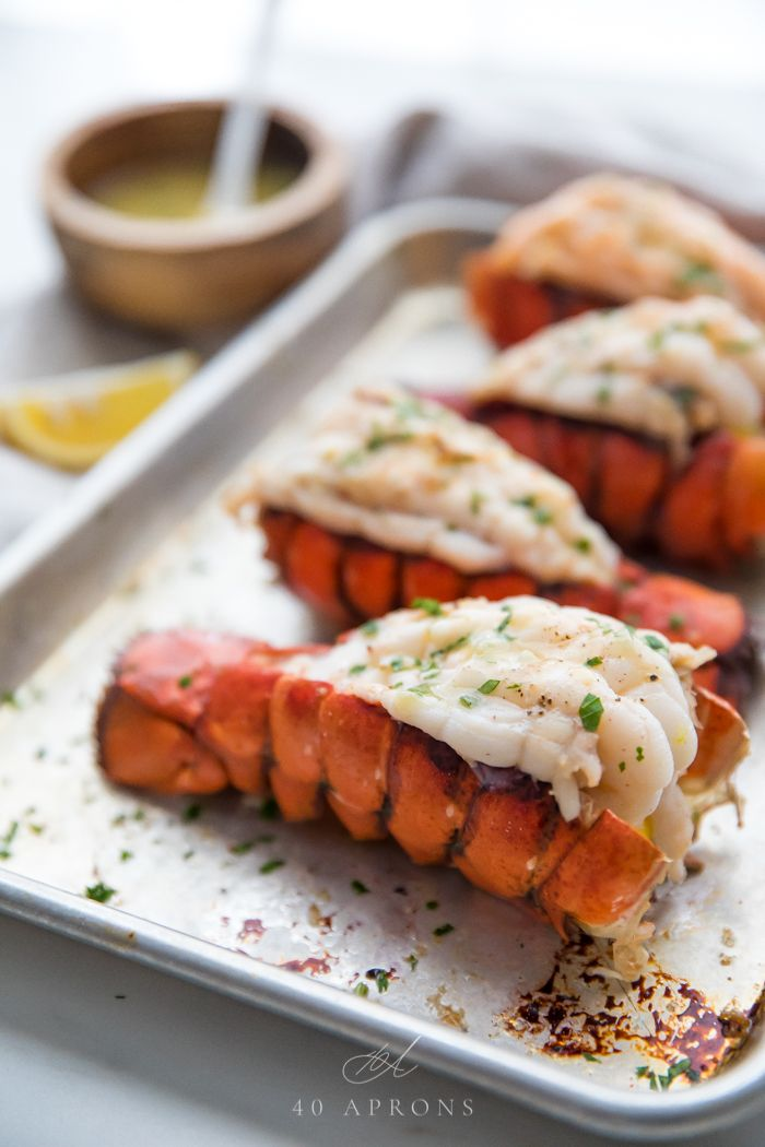 Broiled Lobster Tails with Garlic Butter Sauce #lobstertail