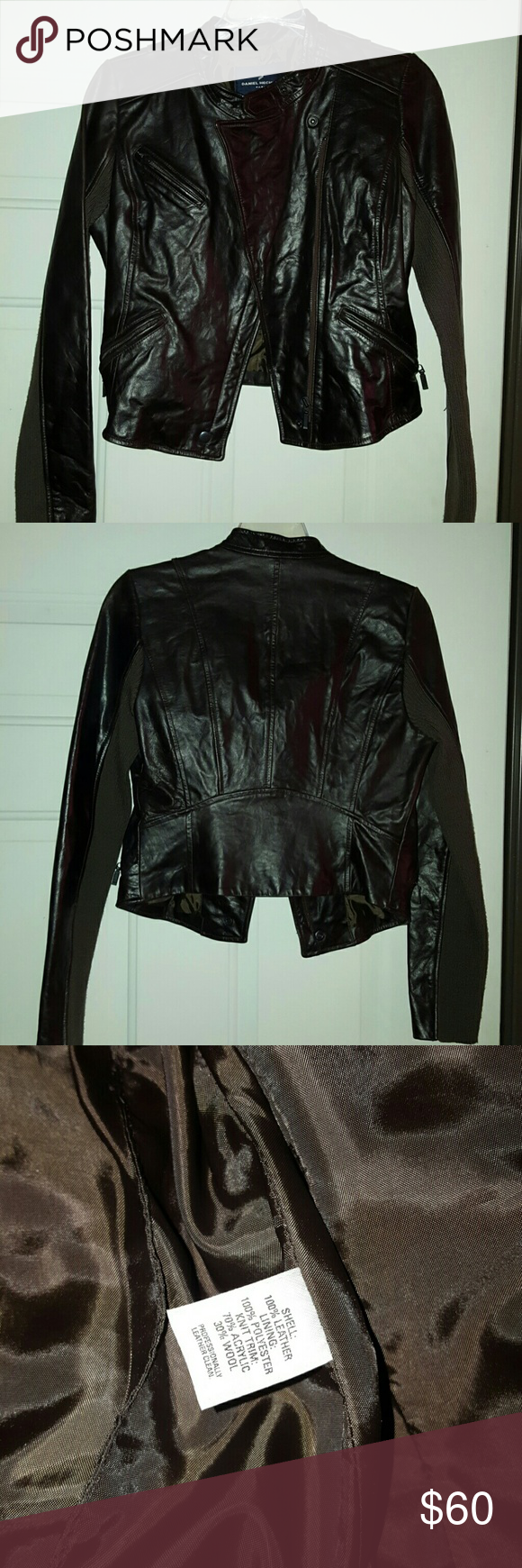 Dark brown leather jacket Dark brown leather jacket and worn once.  Sz small, 3 zipper pockets, great condition.  Too small for me now.  Great with dress pant for work or out on a date or with the girls looking hot?? Open to offers, thank you daniel hechter Jackets & Coats