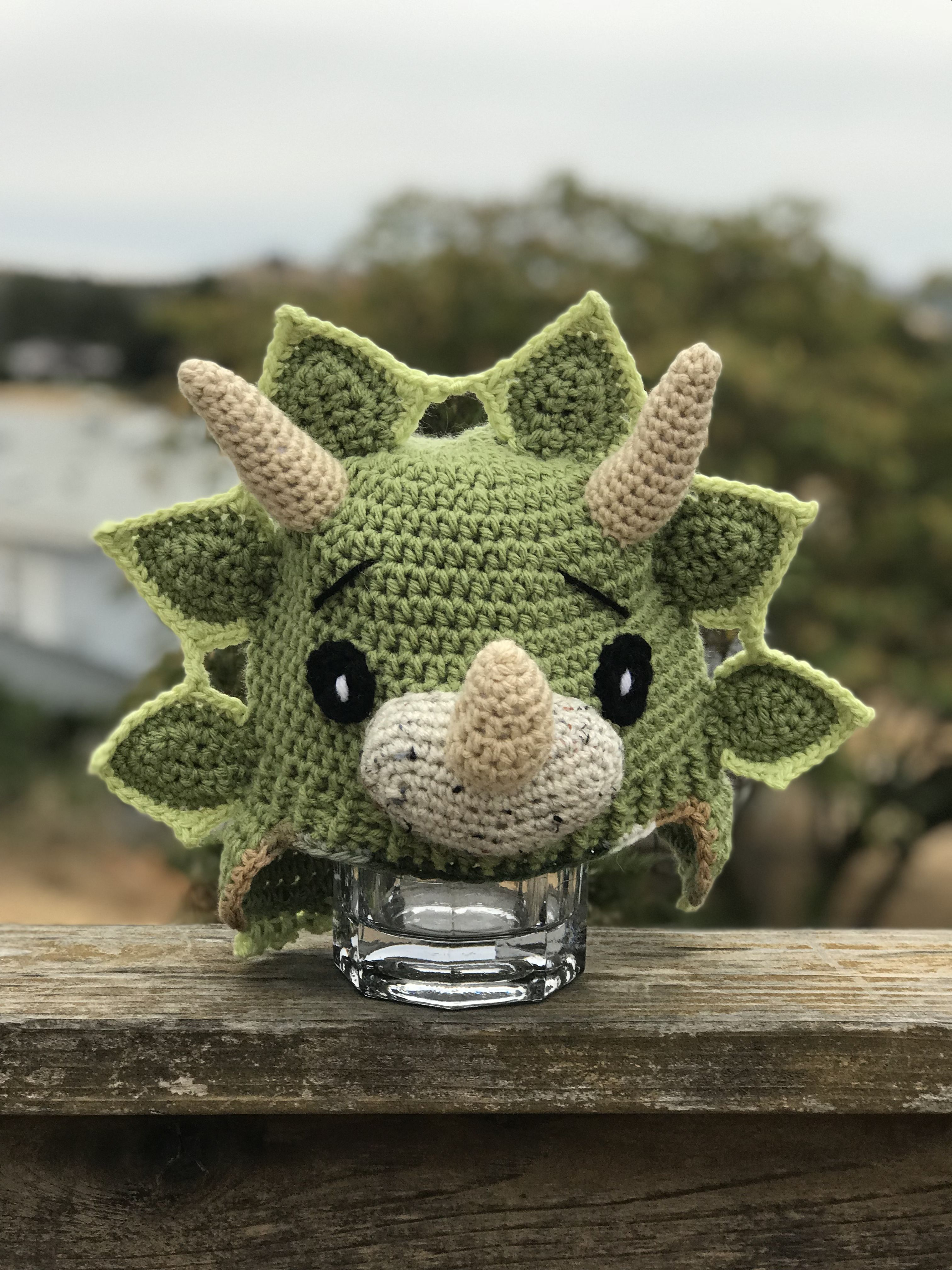 Crochet Triceratop Style Triceratops: Slippers Handmade