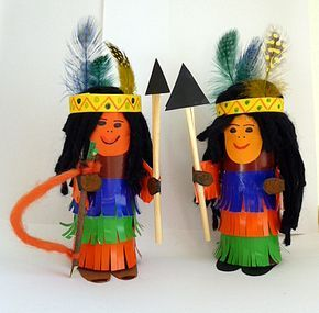 Indianer aus Toilettenpapierrolle - Fasching-basteln - Meine Enkel und ich - Made with schwedesign.de #rouleaupapiertoilette
