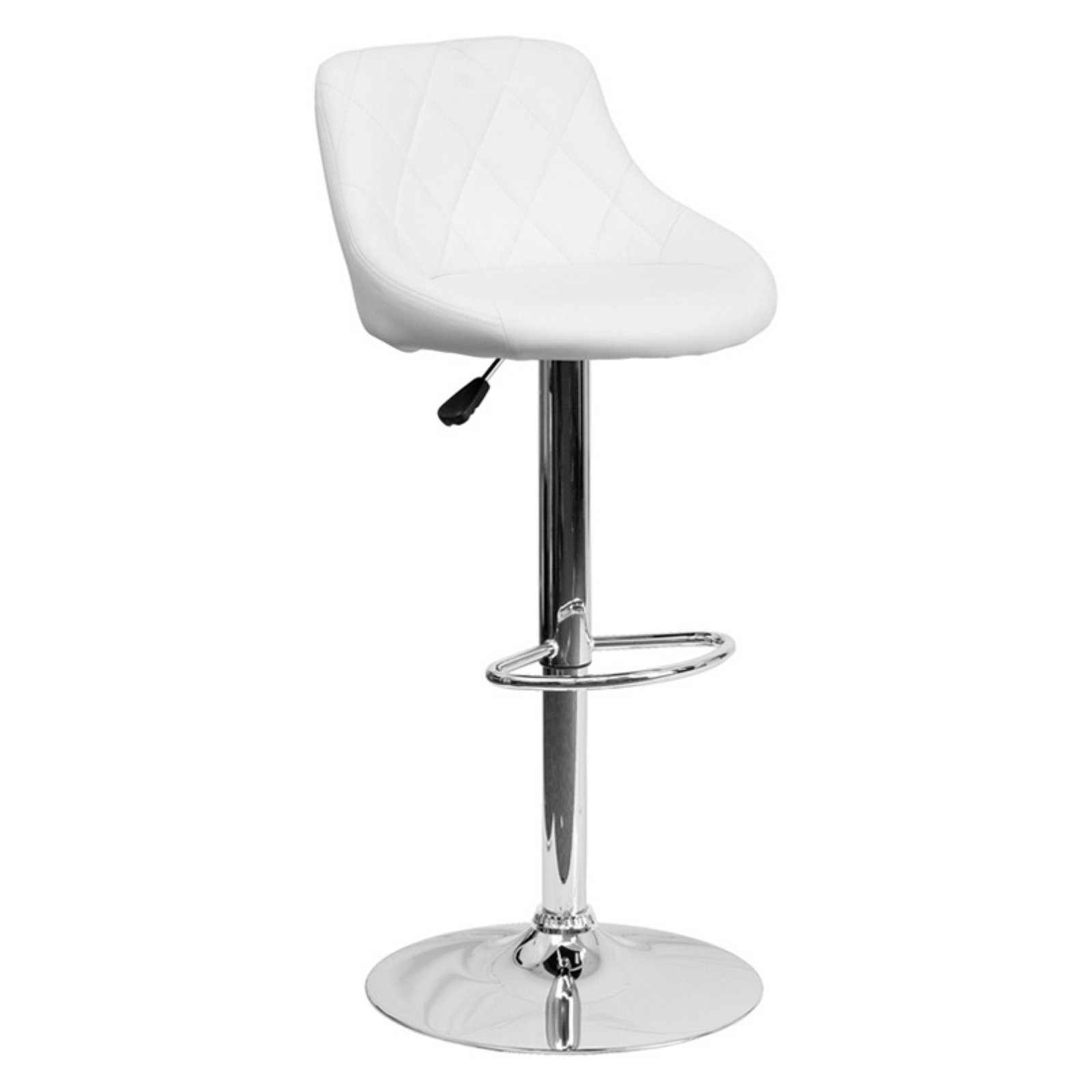 Flash Furniture Contemporary Bucket Seat Adjustable Bar Stool With Chrome Base White Adjustable Bar Stools Bar Stools Flash Furniture