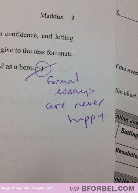 One Does Not Write A Formal Essay Happily…