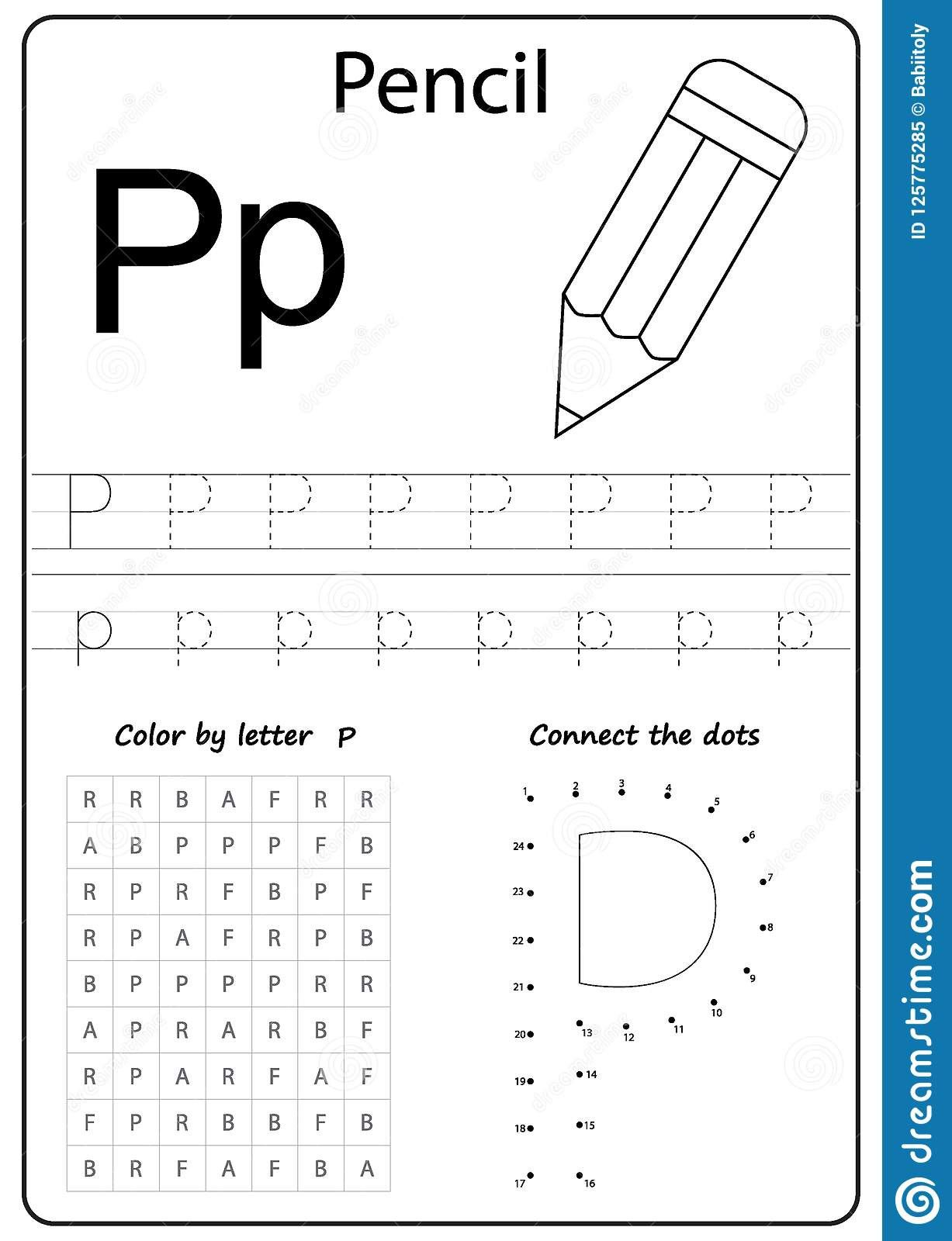 1 Letter P Writing Practice Worksheet In