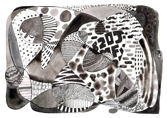 Black and white art quirky patterns print modern art abstract painting