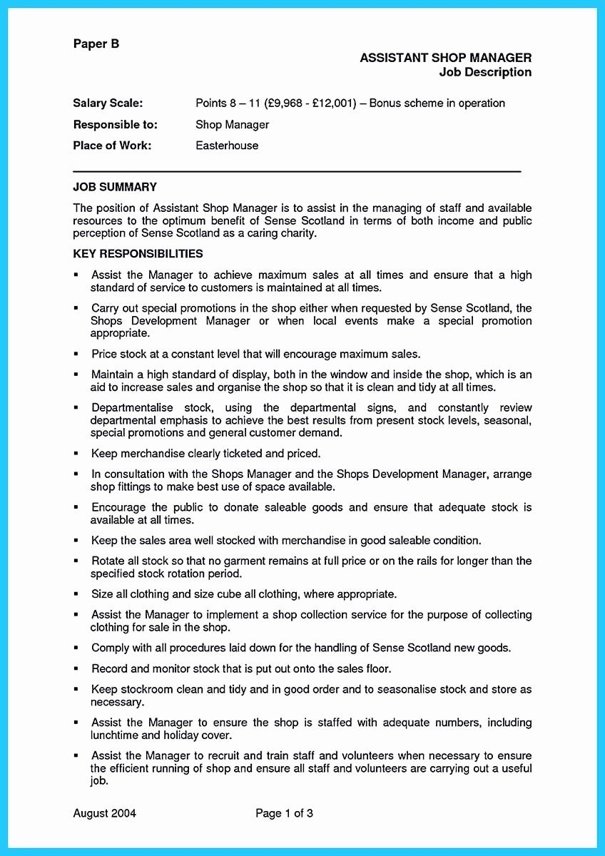 20 assistant store manager resume in 2020 with images