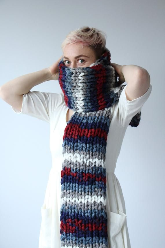 Photo of Colorful long knit scarf