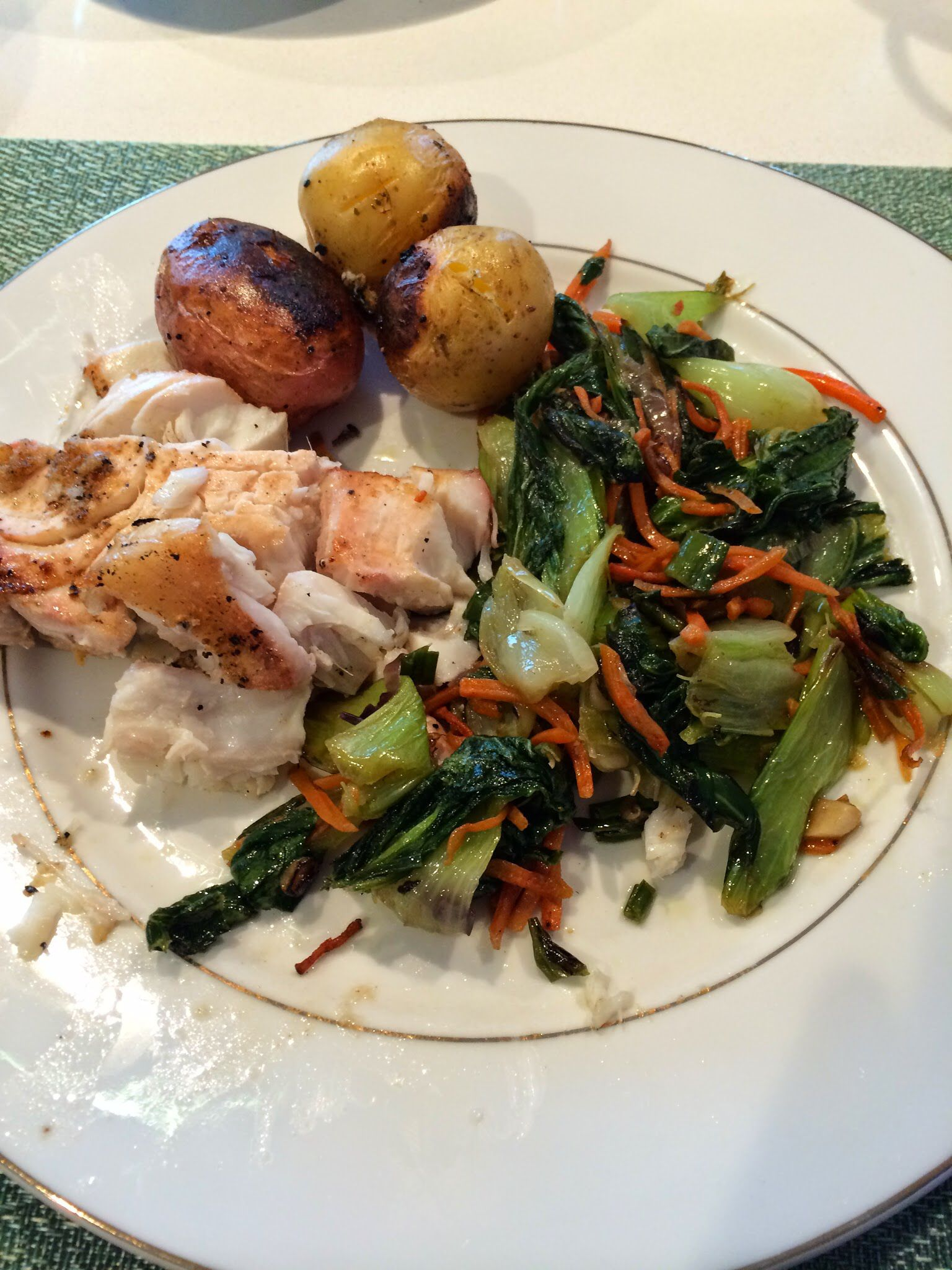 Grilled fish plus CSA vegetables