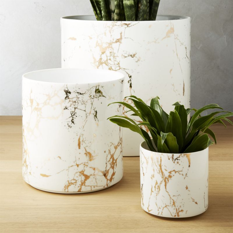 Palazzo Marbleized White And Gold Planters Cb2 Gold Planter Bedroom Plants Plant Decor