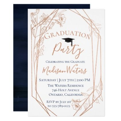 Moody Blue Geometric Graduation Invitation  Invitations Custom