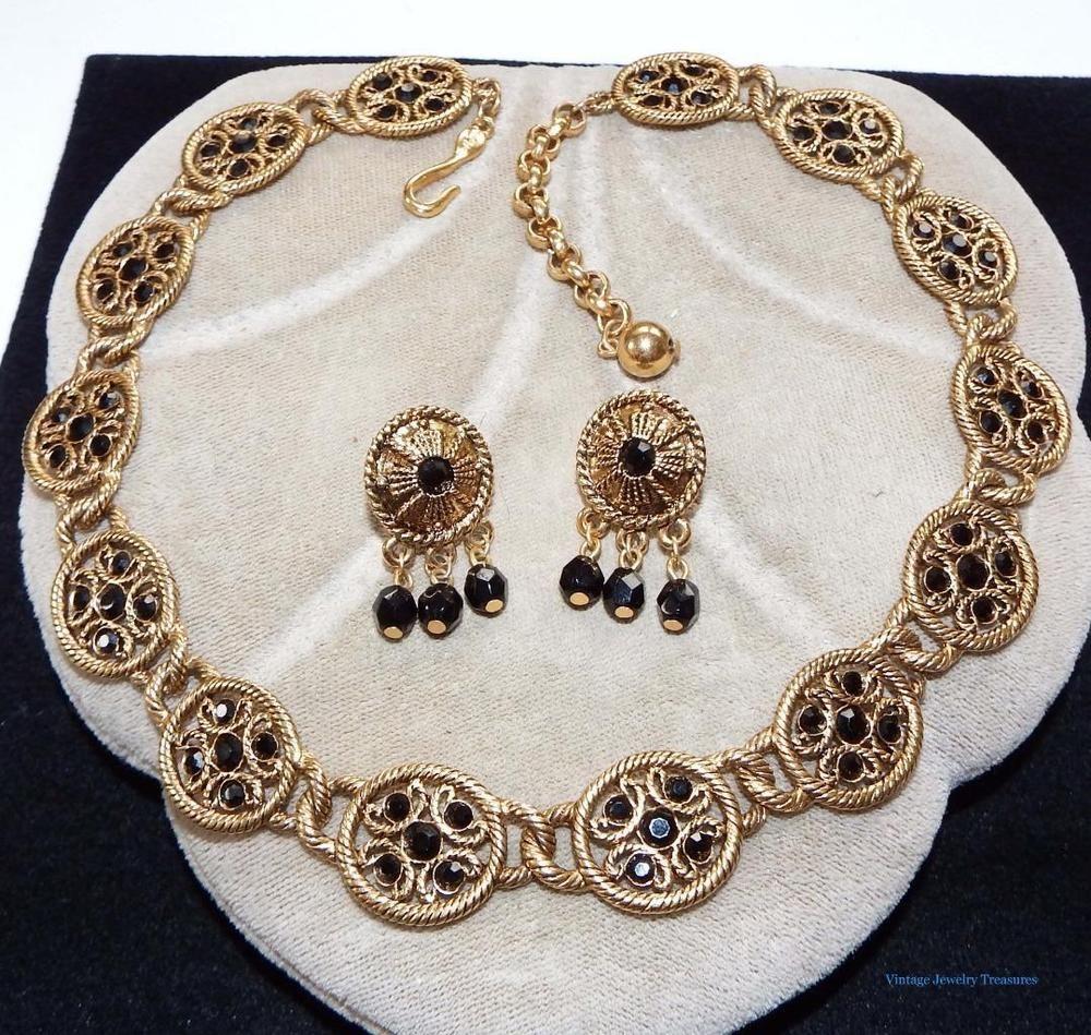 Vintage 1980s Napier Black Rhinestone Gold Tone Necklace & Pierced Earrings  #napier