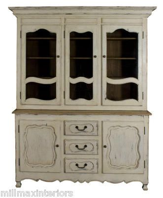 PAINTED PINE SHABBY CHIC ANTIQUE CREAM FRENCH KITCHEN DRESSER DISPLAY CUPBOARD