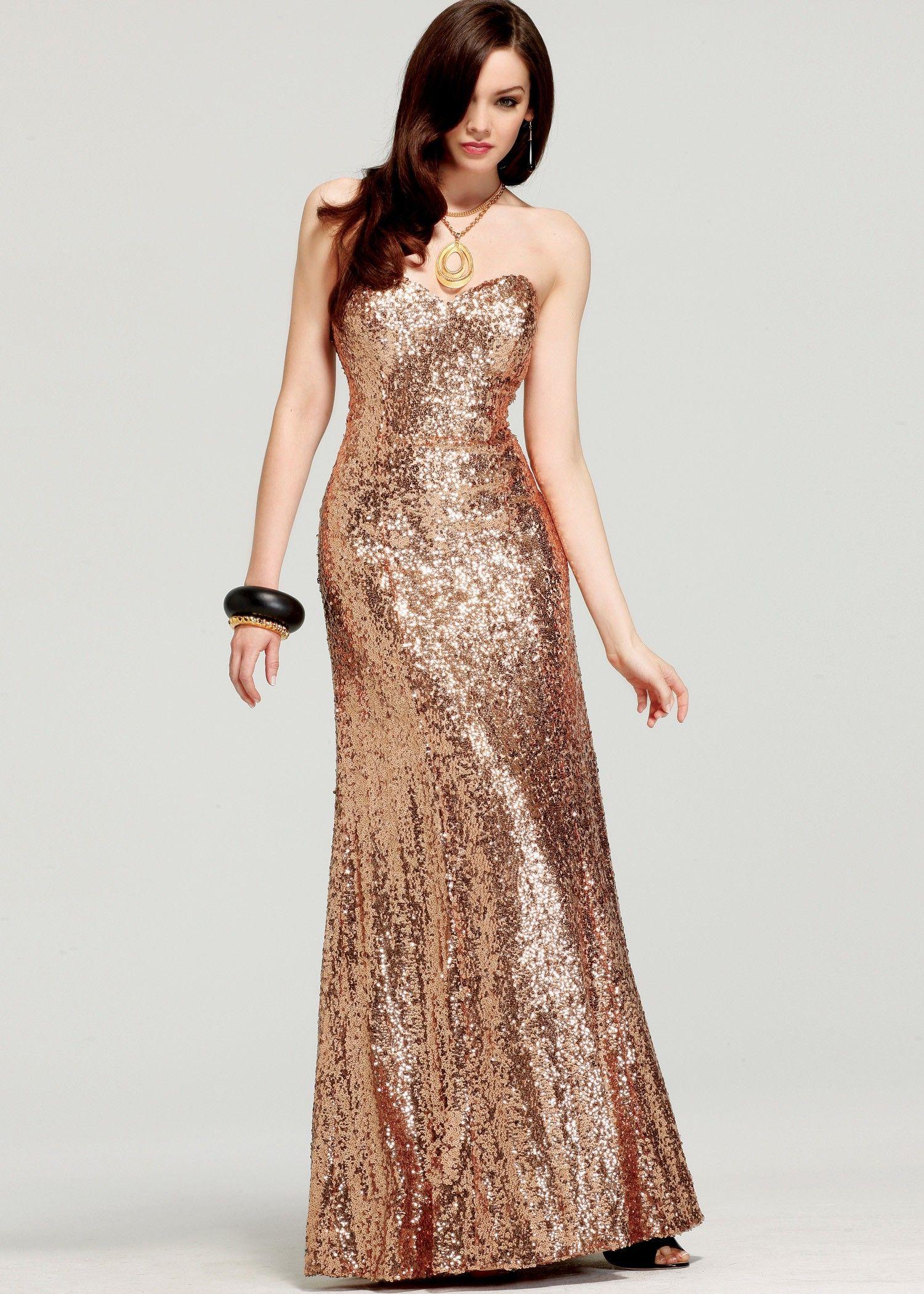 Faviana keyhole back short dress with front slit rose gold