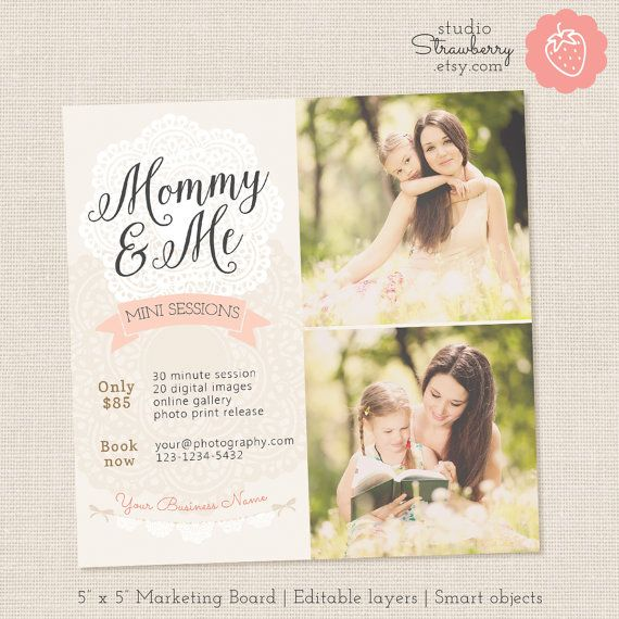 Mommy and Me Mini Session Template Mothers Day by StudioStrawberry - mothers day flyer