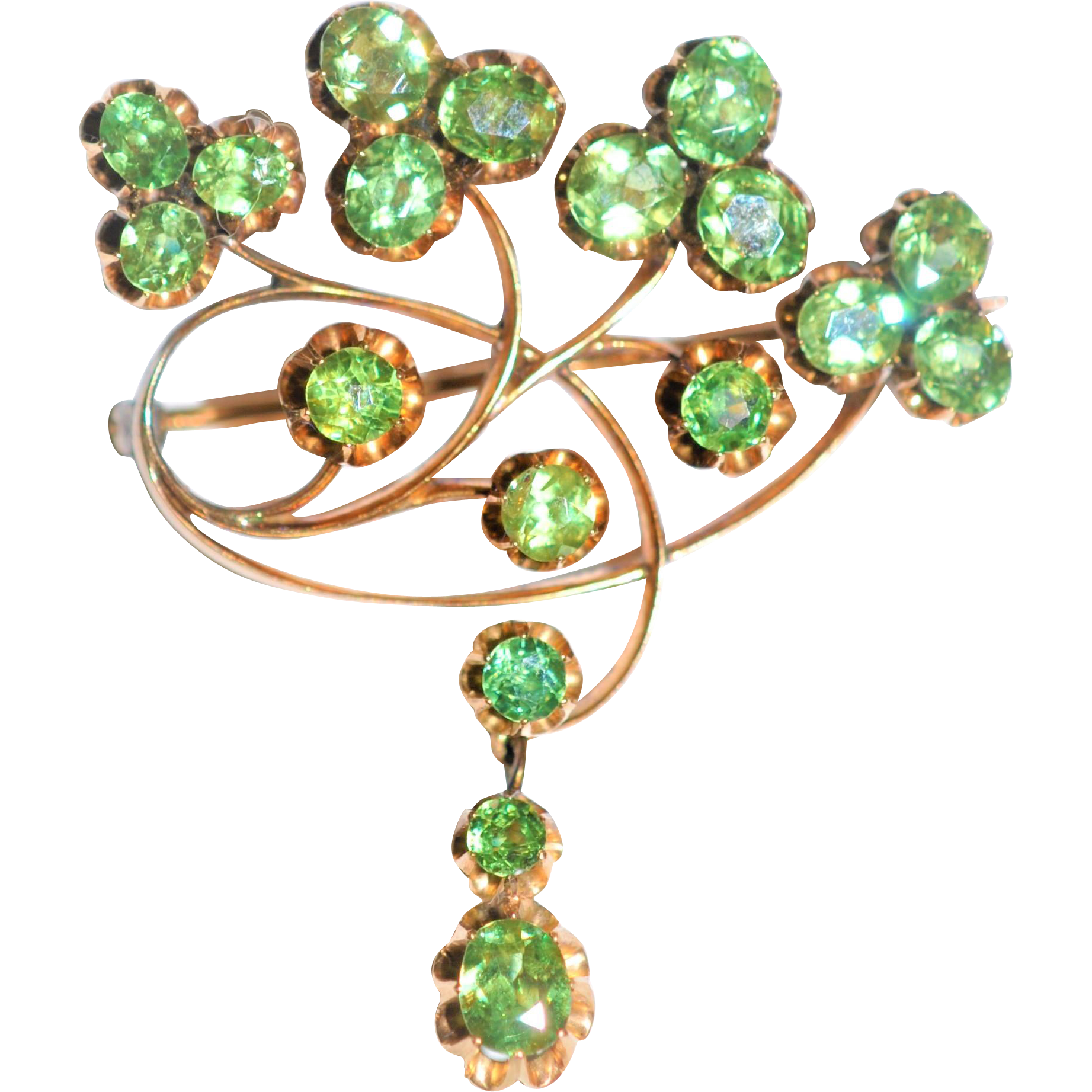 c73cc1b79b2af Russian Art Nouveau Faberge ( Michael Evlampievich Perchin) signed  Demantoid Garnet Brooch 14 kt Rose Gold - found at www.rubylane.com  @rubylanecom # ...