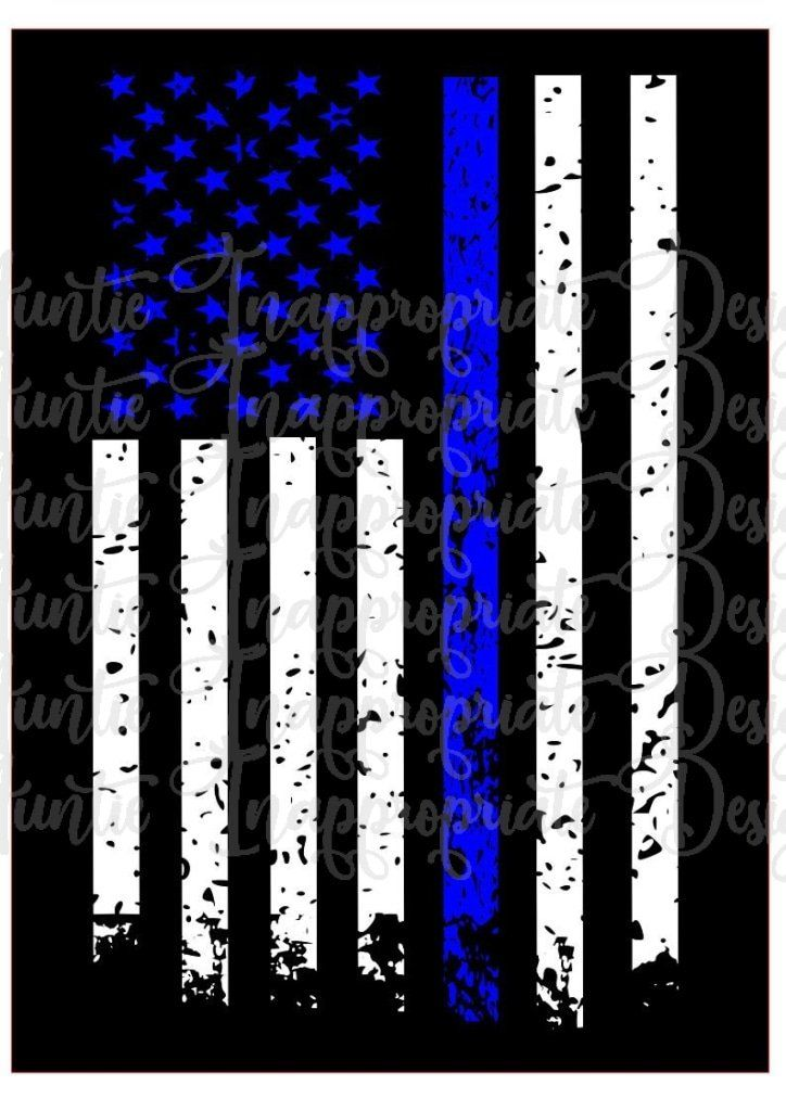 Blue Line Distressed Flag Digital Svg File Distressed Flag Thin Blue Line Flag Blue Line Flag