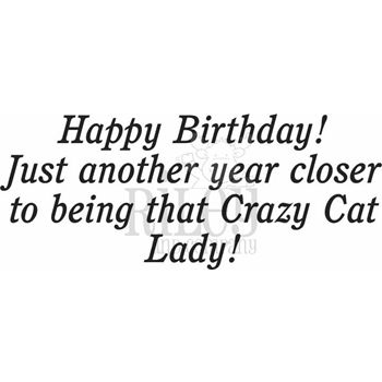 Riley And Company Funny Bones CRAZY CAT LADY Cling Stamp
