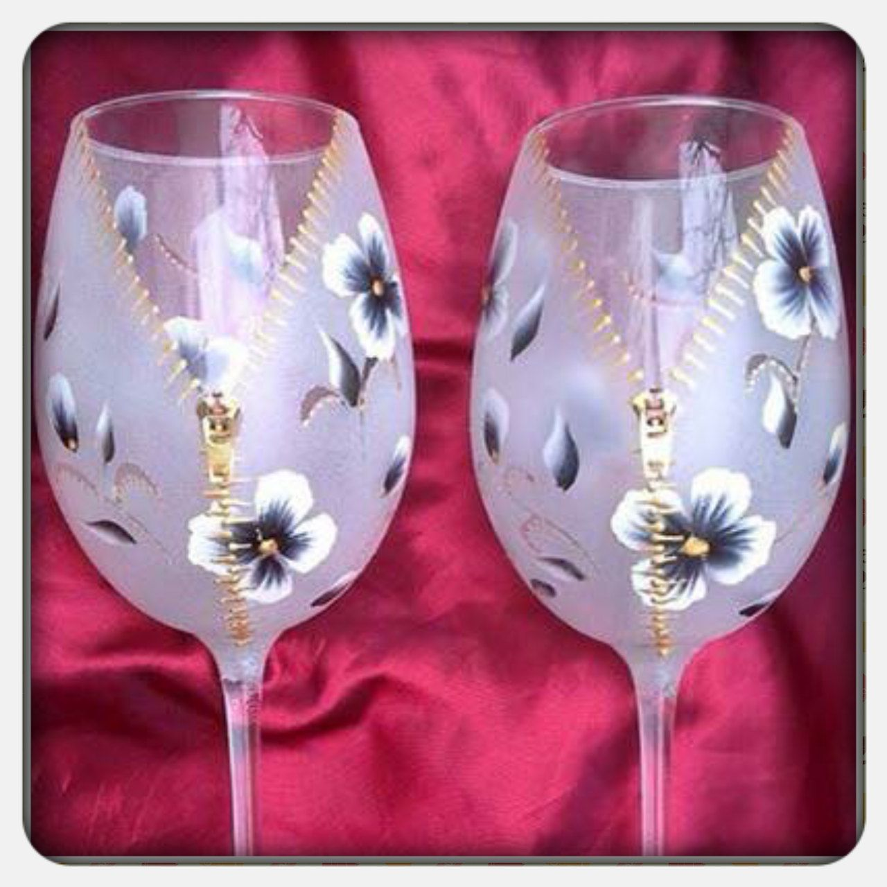 Hand painted wine glasses, hand painted goblet, zipper