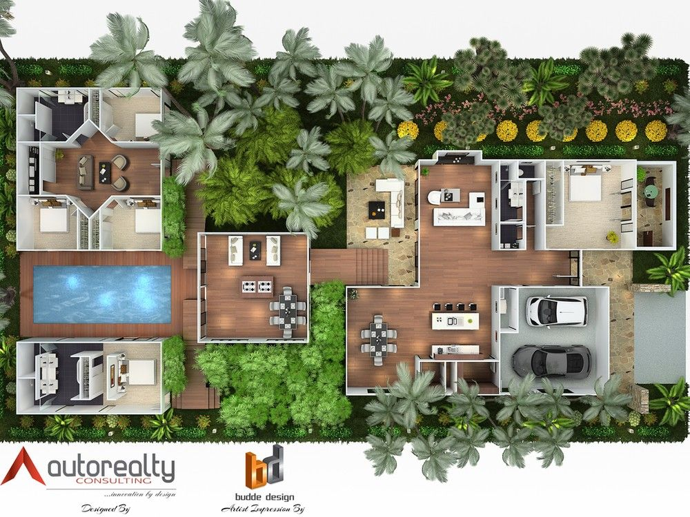 3d Floor Plan For A Residence In Jakarta Indonesia Designed By Autorealty 3d Floor Plan And Artist Impression By Budde D Desain Fasad Arsitektur Denah Rumah
