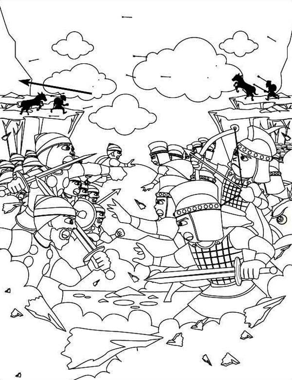 The Battle Before David And Goliath Duel Coloring Page