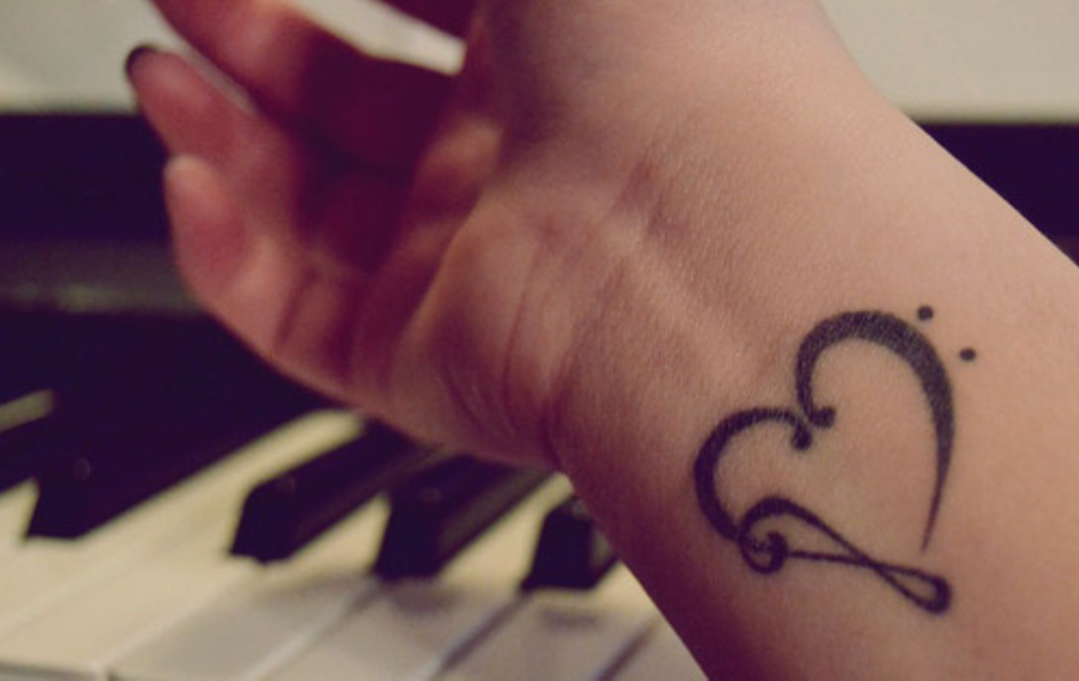 Gorgeous heart into musical symbol tattoo music pinterest