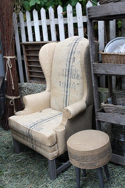 another great way to utilize coffee sacks is part of Upholstered chairs -