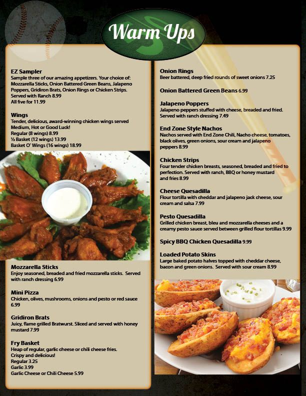 Restaurant Menu Graphic Design Services for Sports Bar and Grill - restaurant menu
