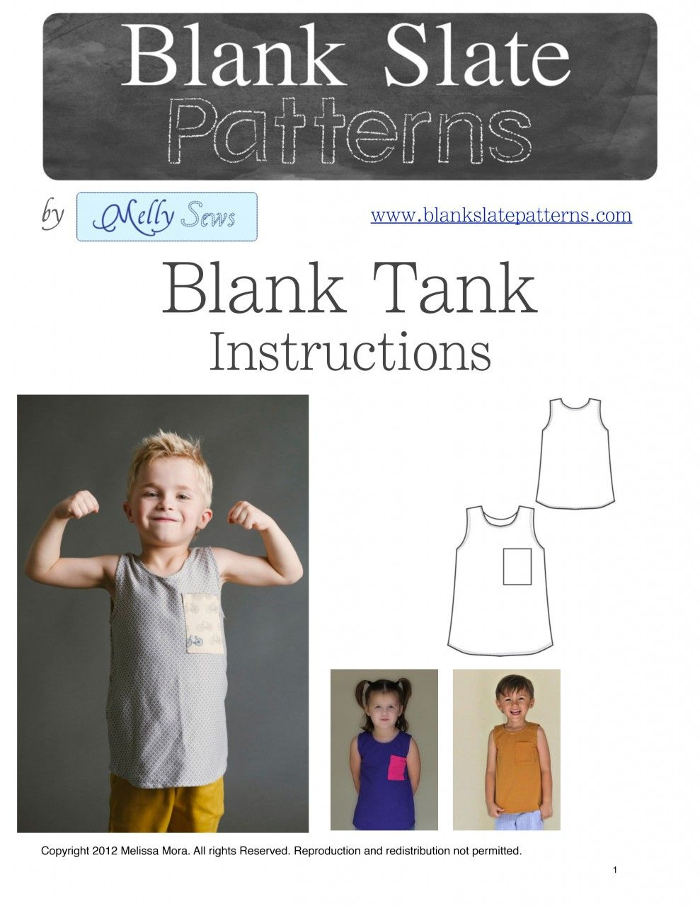 Unisex Blank Tank PDF Pattern 18M to 8 Years by Blank Slate Patterns via lilblueboo.com