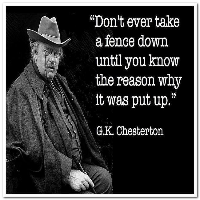 """""""Don't ever take a fence down until you know the reason"""