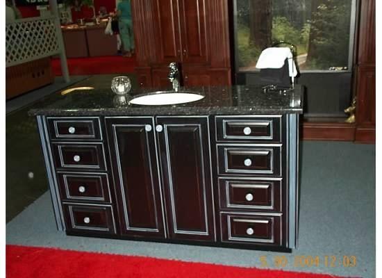 Custom Built Distressed Black Lacquer Vanity Custom Bath