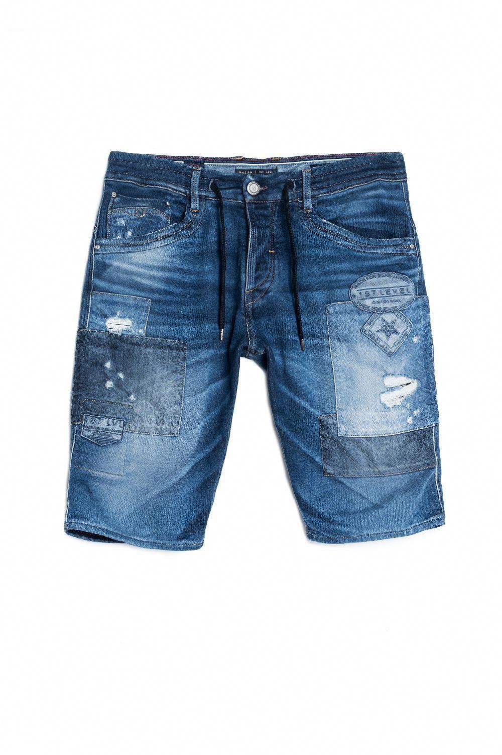 Calções de ganga 1st Level com roto e cordão - Salsa  MensJeans Bermuda  Jeans Masculina 3cf7f2b97853