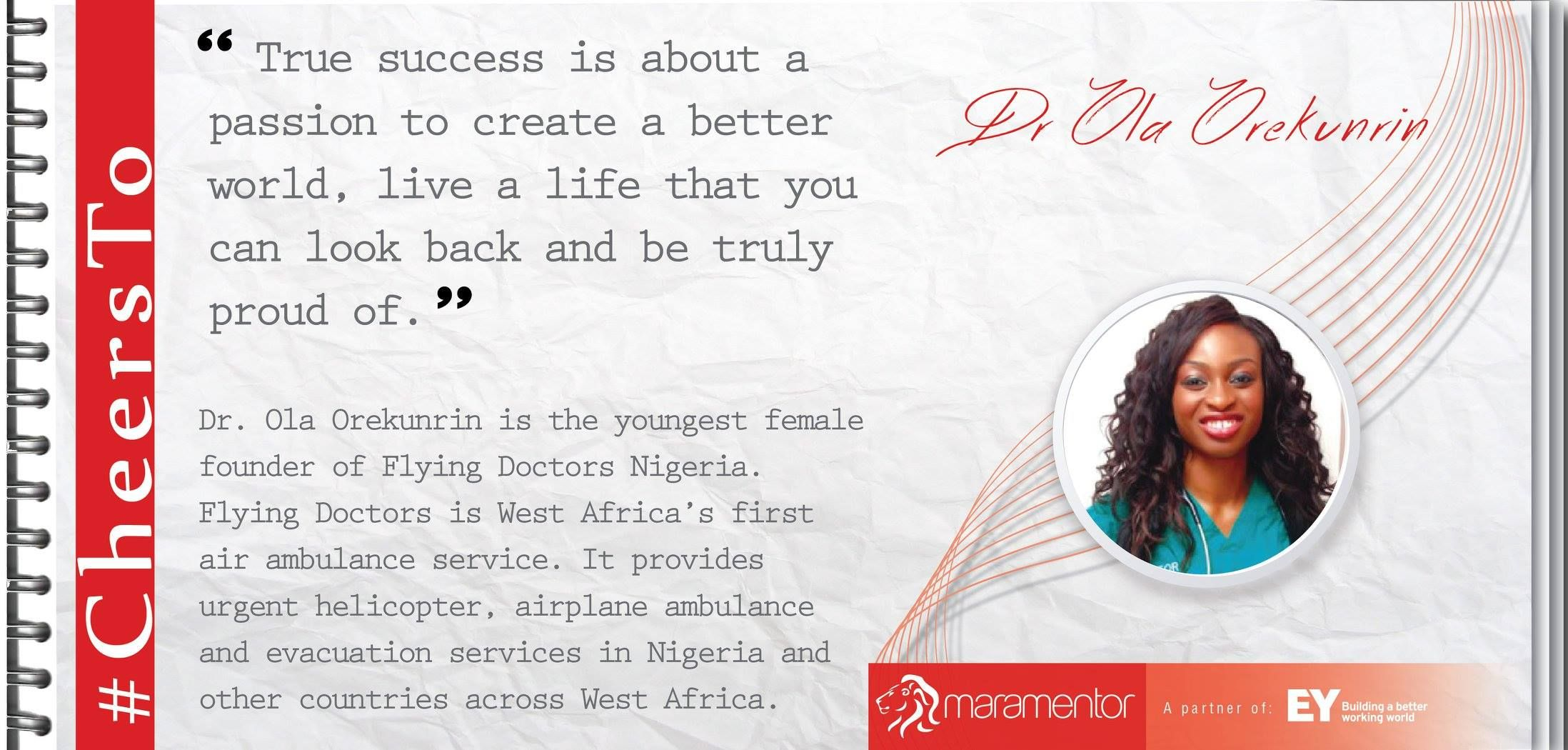 #CheersTo Dr Ola Orekunrin whose vision, determination and hard work brought a massive overhaul in the emergency care services of Nigeria.