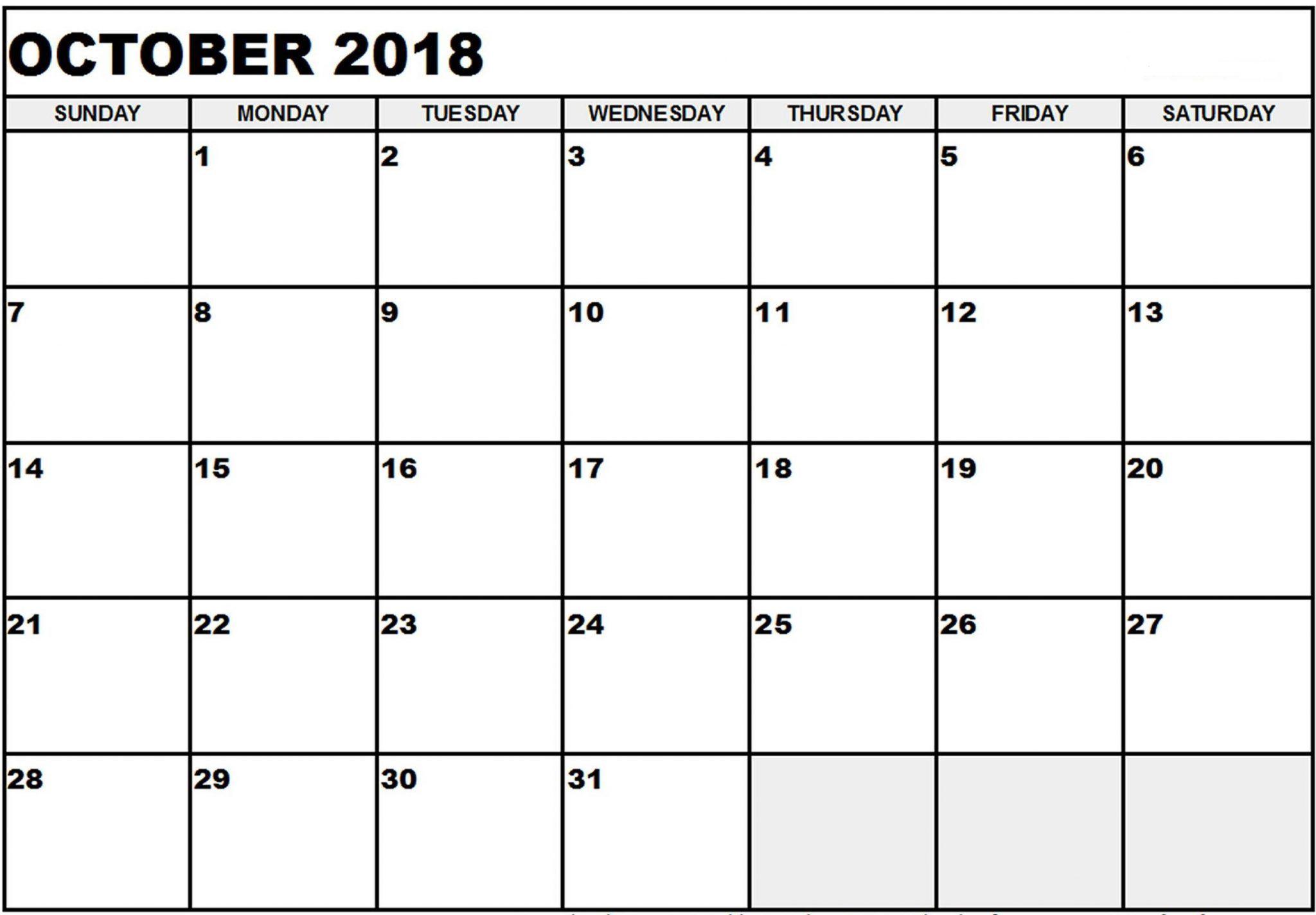 Calendar October Month 2018 October Calendar 2018 Calendar