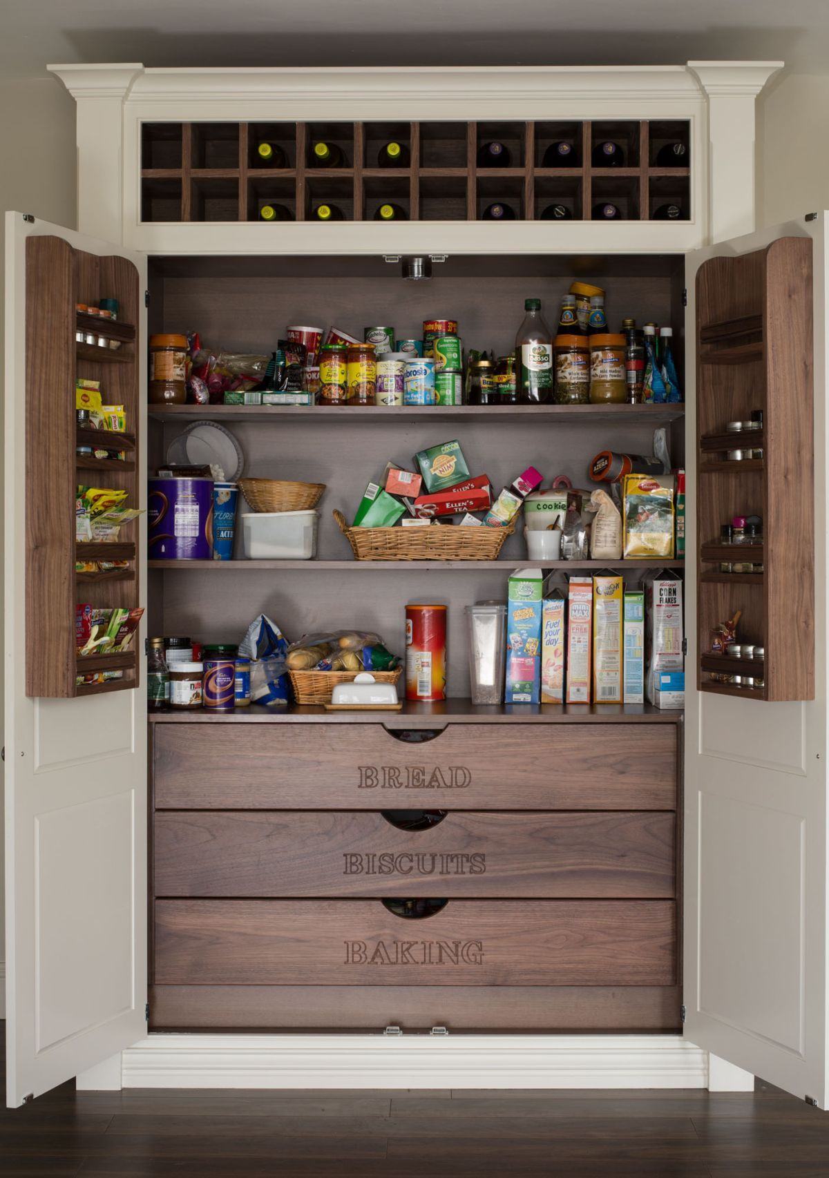 Really functional food pantry cabinet shelterness house u home