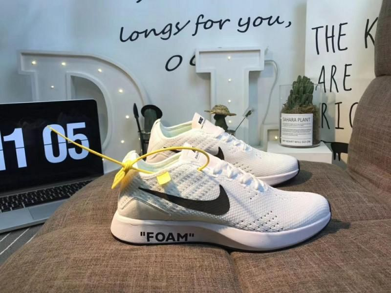 1366f3c3fac6f Authentic Nike Air Zoom off-white Mariah Flyknit Pure White Racer ...