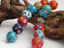 Designer Perlen aus Polymer clay 16mm Millefior...