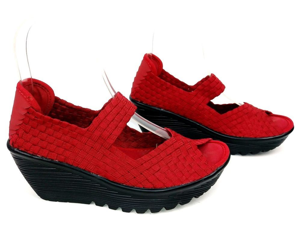 c828833565f4 Skechers Cali Parallel Womens Platform Wedge Sandals Size 5 Red Woven   Skechers  Sandals