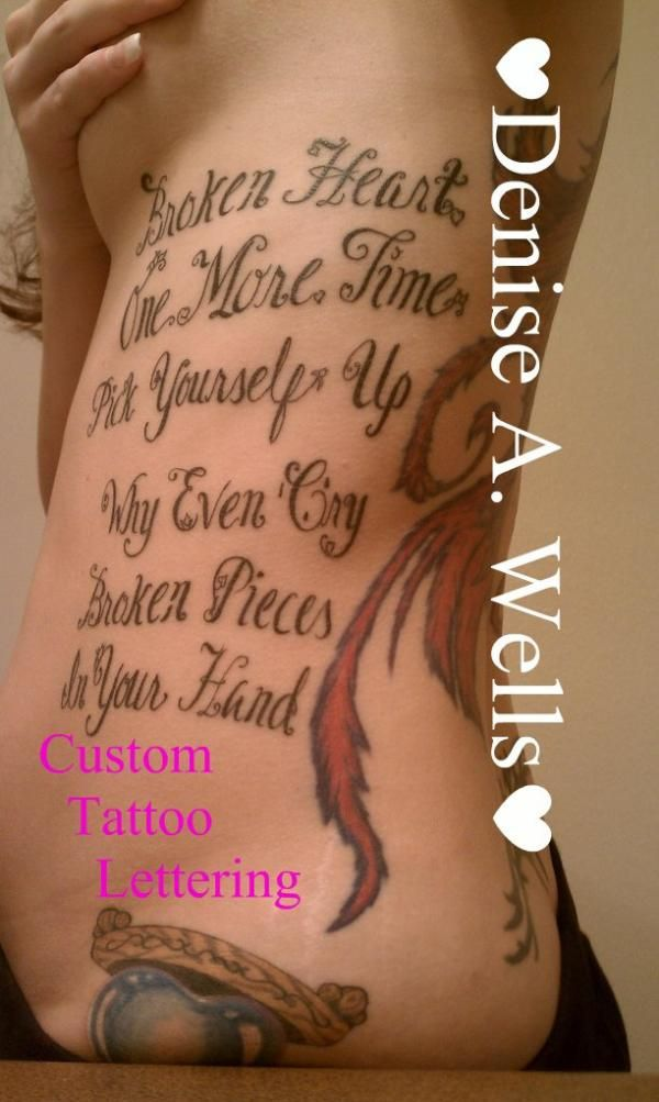 6e9c00068 Lyrics Lettering Tattoo Design by Denise A. Wells - 70 Awesome Tattoo Fonts  Designs <3 <3