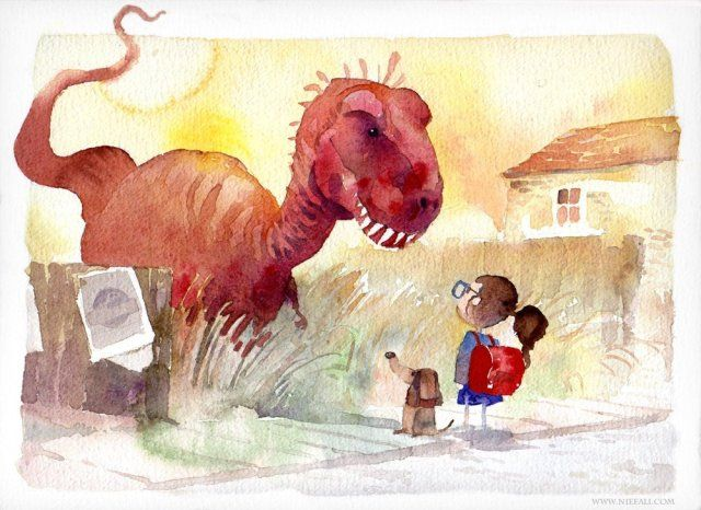 Dino And Schoolgirl By Markus Erdt Vaejoun Children Book