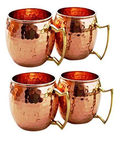 100/% Pure Copper Brass Handle Moscow Mule Hammered Mug Handmade Set of 4 Mugs