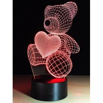Color Change Atmosphere 3d Led Bear Night Light For Valentine Day Heart Nightlight 3d Led Night Light Night Light
